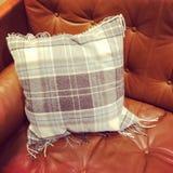 Sofà di cuoio con il cuscino controllato Immagine Stock Libera da Diritti