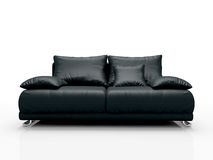 Sofà di cuoio nero Fotografia Stock Libera da Diritti