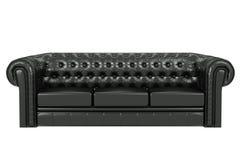 Sofà di cuoio nero 3d Fotografia Stock Libera da Diritti