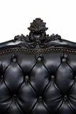 Sofà di cuoio nero di lusso Fotografie Stock Libere da Diritti