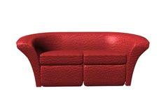 Sofà di cuoio rosso Fotografie Stock