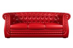Sofà di cuoio rosso isolato sopra 3d bianco illustrazione di stock