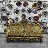 Sofà di lusso nella retro stanza Fotografie Stock Libere da Diritti