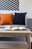 Sofà e cuscini in salone con caffè ed il libro sulla tavola di legno Fotografia Stock