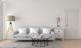 Sofà e lampada grigi in salone bianco, rappresentazione 3D illustrazione vettoriale