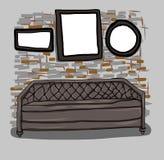 Sofà e parete disegnati a mano nella stanza Immagine Stock Libera da Diritti