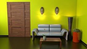 Sofà e porta marrone Fotografie Stock