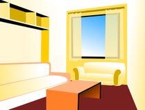 Sofà e pranzo-vagone angolari nell'interiore Immagini Stock
