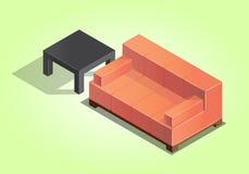 Sofà e tavola illustrazione vettoriale