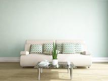 Sofà e tavola vicino alla parete illustrazione vettoriale
