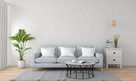 Sofà grigio in salone bianco, rappresentazione 3D Fotografie Stock
