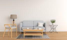 Sofà grigio in salone bianco, rappresentazione 3D illustrazione vettoriale