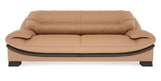 sofà marrone 3D su una priorità bassa bianca Immagine Stock Libera da Diritti