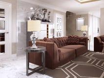 Sofà marrone rossiccio con le tavole e le lampade da tavolo laterali nere Fotografia Stock