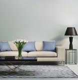 Sofà moderno contemporaneo blu-chiaro illustrazione di stock