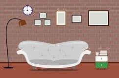 Sofà moderno vivente dell'illustrazione di interior design di vettore Fotografia Stock