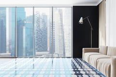 Sofà panoramico di beige del salone Fotografie Stock