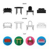 Sofà, poltrona, tavola, specchio Mobilia ed icone domestiche della raccolta del interiorset in nero, piano, simbolo di vettore di illustrazione di stock