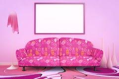 Sofà rosa di flower power Fotografie Stock Libere da Diritti