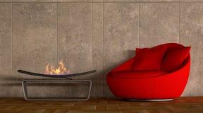 Sofà rosso comodo con il camino illustrazione vettoriale