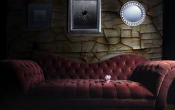 Sofà rosso del velluto Fotografie Stock