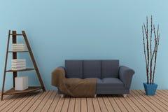 Sofà triplo nella stanza blu con lo scaffale per libri nella rappresentazione 3D Fotografie Stock