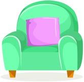 Sofà verde sveglio con il cuscino Fotografie Stock Libere da Diritti