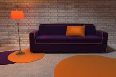 Sofà viola e la lampada Immagine Stock