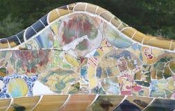Sofá adornado en Parc Guell en Barcelona España Fotografía de archivo libre de regalías