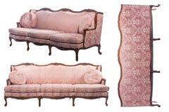 Sofá antiquado luxuoso do vintage de todos os lados isolados no fundo branco fotografia de stock royalty free