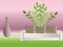 Sofá blanco con las almohadillas Imagenes de archivo