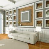 Sofá blanco del estilo en sitio del vintage Fotografía de archivo libre de regalías