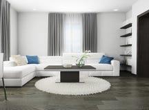 Sofá blanco en interior moderno Foto de archivo libre de regalías