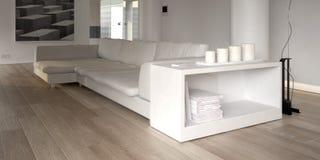 Sofá blanco moderno con el estante para libros libre illustration