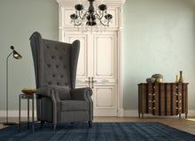 Sofá bonito do vintage ao lado da parede do grung 3d Fotografia de Stock Royalty Free