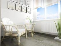 Sofá branco no interior moderno, rendição de 3 d fotografia de stock