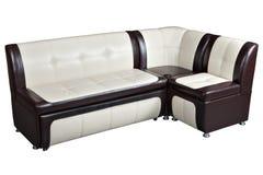 Sofá cama seccional de la esquina convertible en la piel artificial, furn imagen de archivo libre de regalías