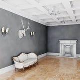 Sofá clásico blanco del estilo en sitio del vintage Foto de archivo