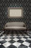 Sofá clásico en el suelo de mármol Foto de archivo libre de regalías