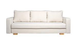 Sofá con la tapicería blanca de la tela (vista delantera) imagen de archivo