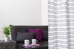 Sofá con los amortiguadores brillantes en una sala de estar Imagen de archivo