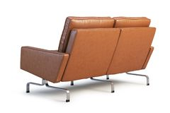 Sofá de couro de Brown O sofá 3d de Loveseat rende Fotografia de Stock