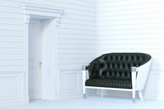 Sofá de couro clássico no interior branco de madeira 3d rendem Fotos de Stock Royalty Free