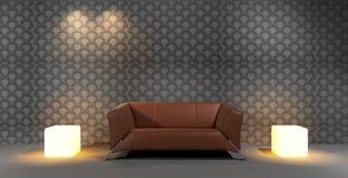 Sofá de couro de Brown com fundo do papel de parede Foto de Stock Royalty Free