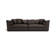 Sofá de couro marrom isolado fotografia de stock royalty free