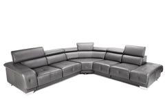 Sofá de couro preto Fotos de Stock