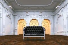 Sofá de cuero clásico en la mansión lujosa grande Opinión de perspectiva
