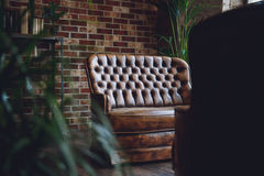 Sofá de cuero en sitio amueblado Fotos de archivo
