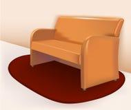 Sofá de cuero marrón suave Imagenes de archivo