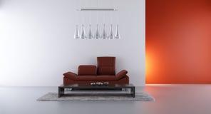 Sofá de cuero para hacer frente a una pared en blanco Stock de ilustración